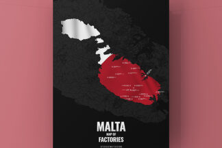 Malta City Street Map Poster, Alu-Dibond Fireworks Factories